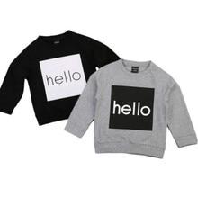 Baby Boys T-Shirts Children Clothing 2017 Brand Clothes Boys Long Sleeve Tops Hello Words Kids T-shirts for Boy Sweatshirt 1-5T