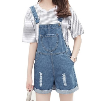 Distressed Overall Shorts For Women Spring Summer 2017 New Fashion Casual Loose Chest Pocket Women Denim Bib Overalls Dungarees kleider weit