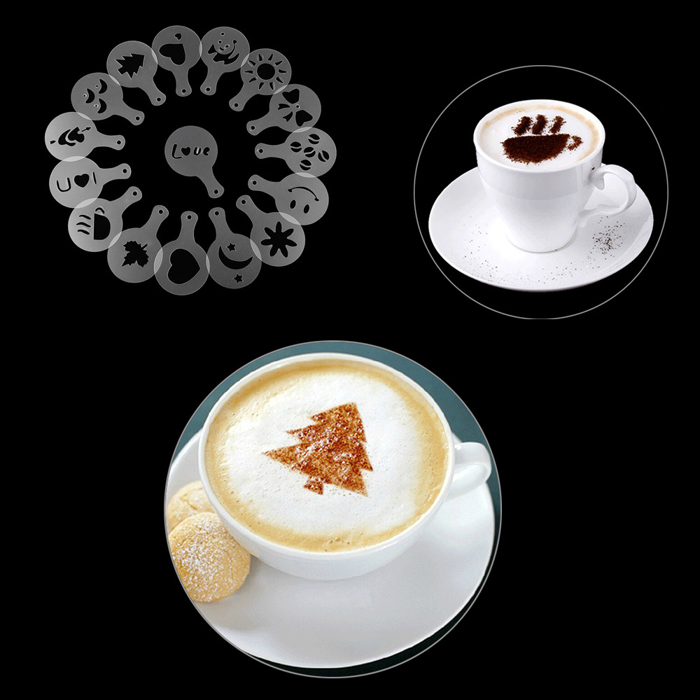 16pcs Set Cappuccino Latte Stencil Coffee Mold Decor Barista Duster Art Tool Decoration Pad Mould Printing Stencil Coffee Mould