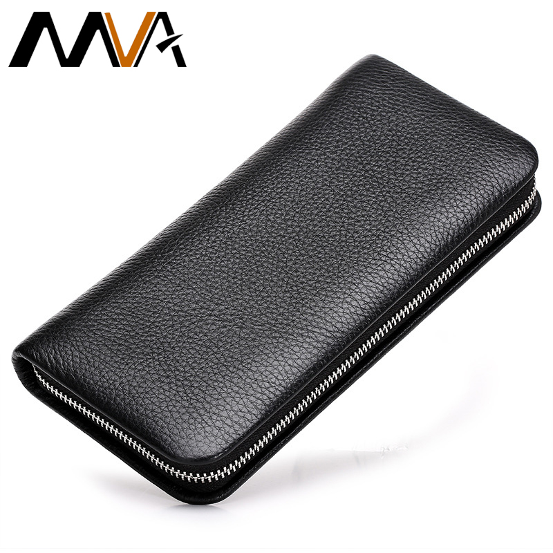 ФОТО MVA Fashion Men Wallets Genuine Leather Wallets Clutch Card Holder Purse Male Purse Man Day Clutch Bag Zipper Long Wallets