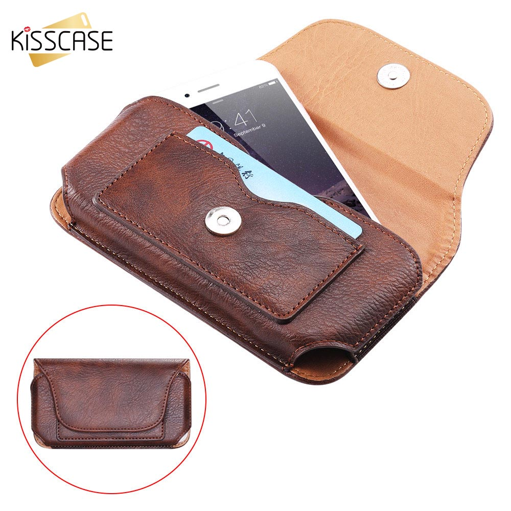 KISSCASE Universal Vintage Case For iPhone 6 6s 7 8 Plus Leather Wallet Cases For iPhone X Bag For Samsung S7 S6 S8 Belt Clip