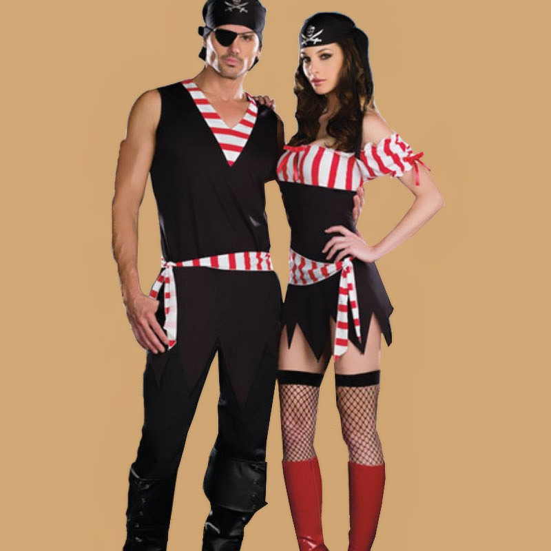 Halloween Adult Men Women Couples Lovers Caribbean Pirate Costumes Uniform Fancy Dress Red Stripe Witch Devil Cosplay Costume