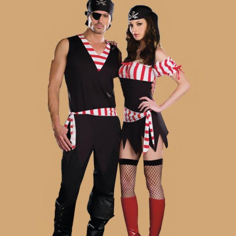 Hombres Mujeres Parejas Amantes de Halloween Para Adultos Trajes de Piratas Del Caribe Disfraces Uniforme Rojo