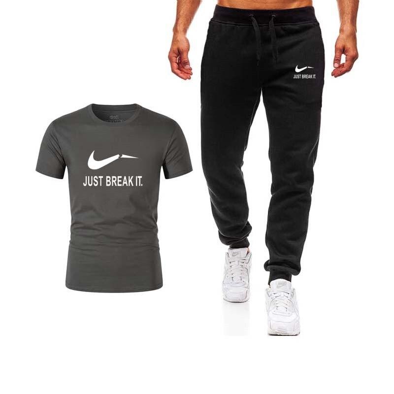 2019 Neue Hohe Qualität Marke Männer T-shirt Anzug 2 Stück Beiläufige Kurze Hülse O-ansatz Mode Gedruckt Baumwolle T Shirt Und Shorts Männer Seien Sie In Geldangelegenheiten Schlau