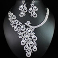 2016 Shining Rhinestone Rhodium Plated Women Jewelry Accessories Promotion Lovely Peacock Crystal Wedding Bridal Jewelry Sets