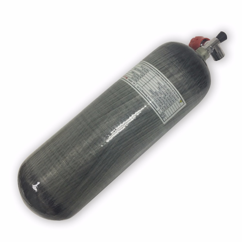 AC10911 Promotion Hot SCUBA Cylinder Tank 9L 4500psi Carbon Fiber Gas Cylinder And Paintball Tank With Red Valve
