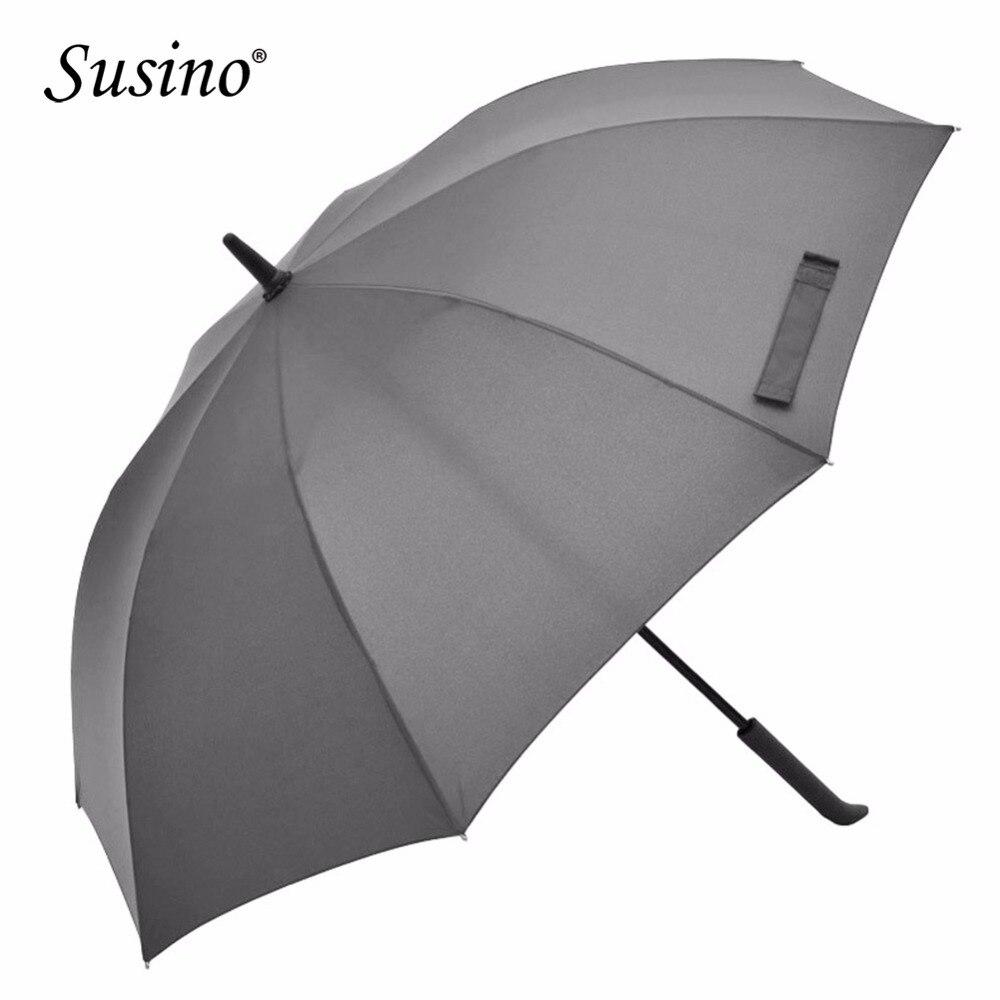 Parapluie Susino adultes parapluies bâton semi-automatique design Simple gris noir bleu Long manche coupe-vent parapluie imperméable