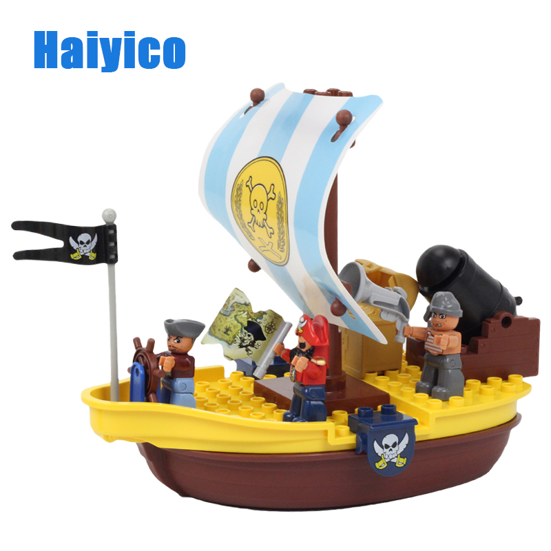 Big Building Blocks War Pirate Ship Sailor Captain Model Accessories Bricks Compatible with Duplo Set Figure Child Toys Boy Gift big building blocks castle pirate arms armor war cannon model accessories bricks compatible with duplo set figure toy child gift