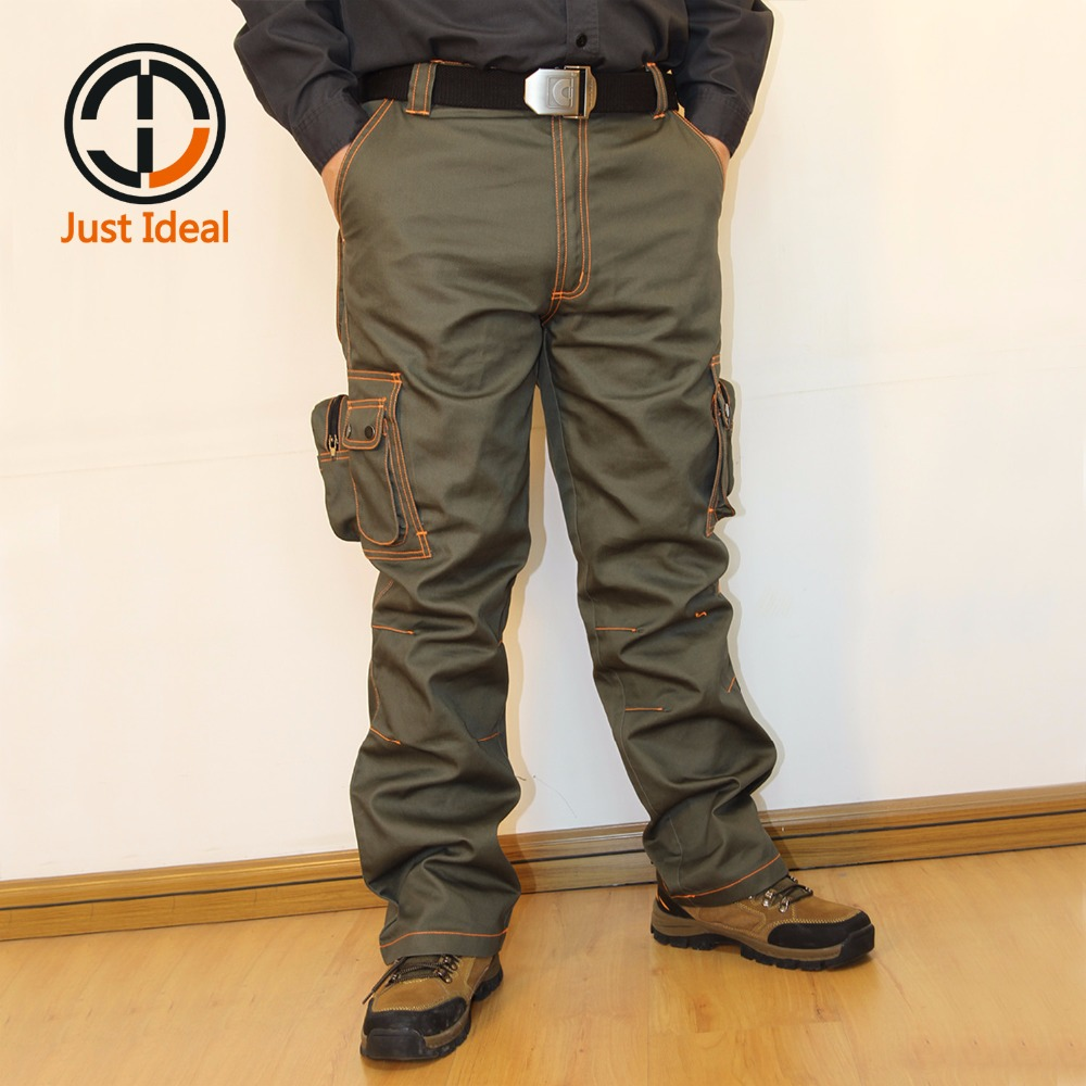 Men Cargo Pants Work Trousers Multi Pockets Casual Pants Military Style Brand Clothing Polyester Cotton For Men Plus Size ID704