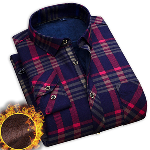Image 1 - winter casual shirt men warm long sleeve plaid shirts thick velvet mens brand dress shirts male slim fit camisa masculina