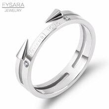 FYSARA Brand Punk Rock Jewelry Couple Double Rivet Arrow Finger Rings for Women