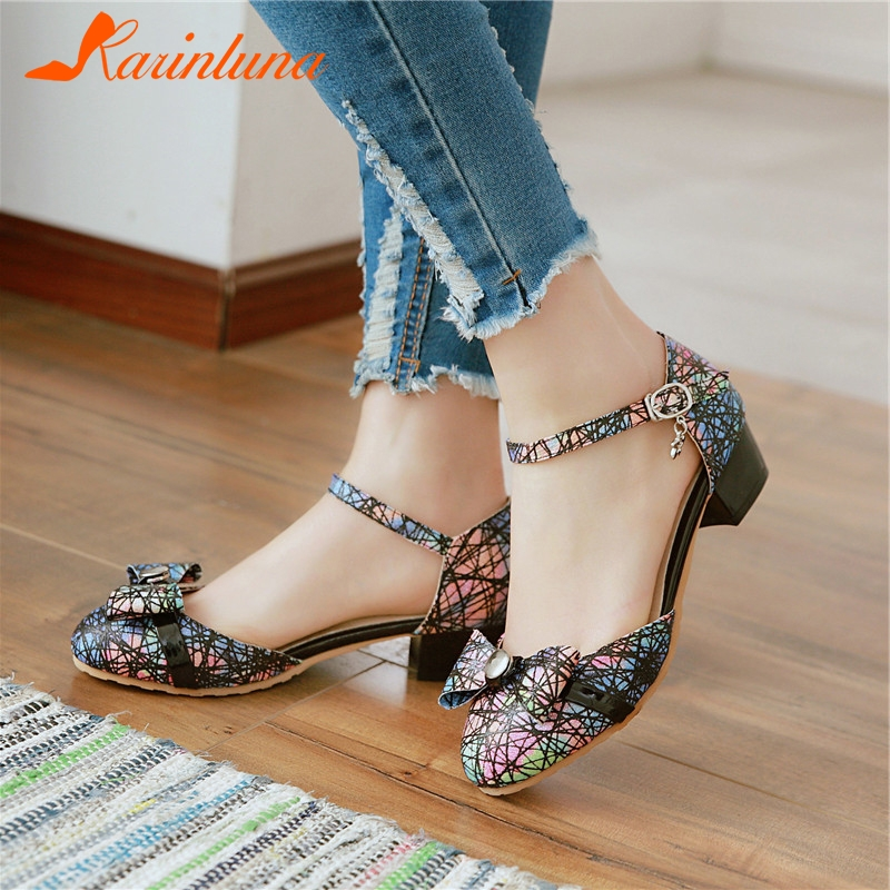 KARINLUNA New Fashion Plus Size 28-52 Print Bowtie Buckle Strap Shoes Woman Casual Party Office Sweet Summer Sandals