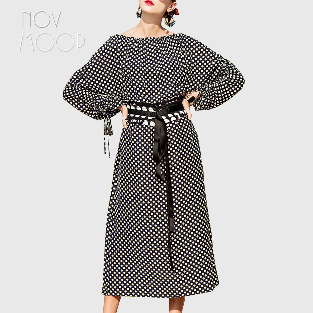 Summer women black white polka dot tie ruched long sleeve natural silk dress with belt oversize office midi silk dress LT2118 lc6181 2 ruched wrap midi dress black free size