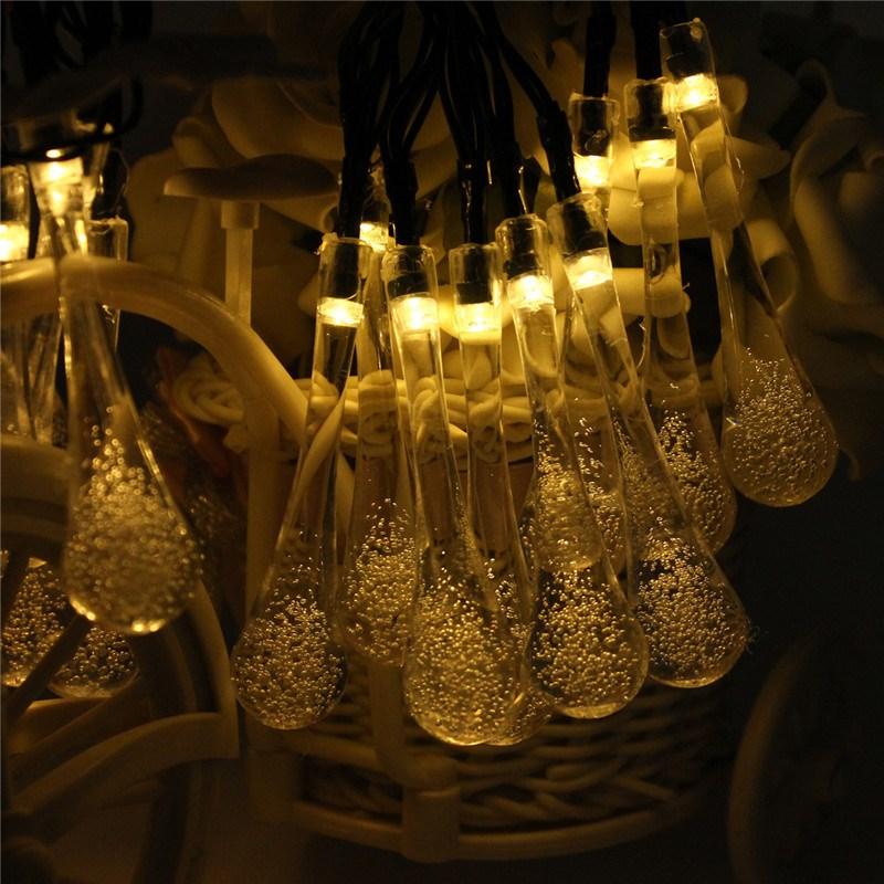 Msing 480CM Solar Powered 20 LED String Light Christmas Icicle Lights Raindrop LED Fairy Lights For