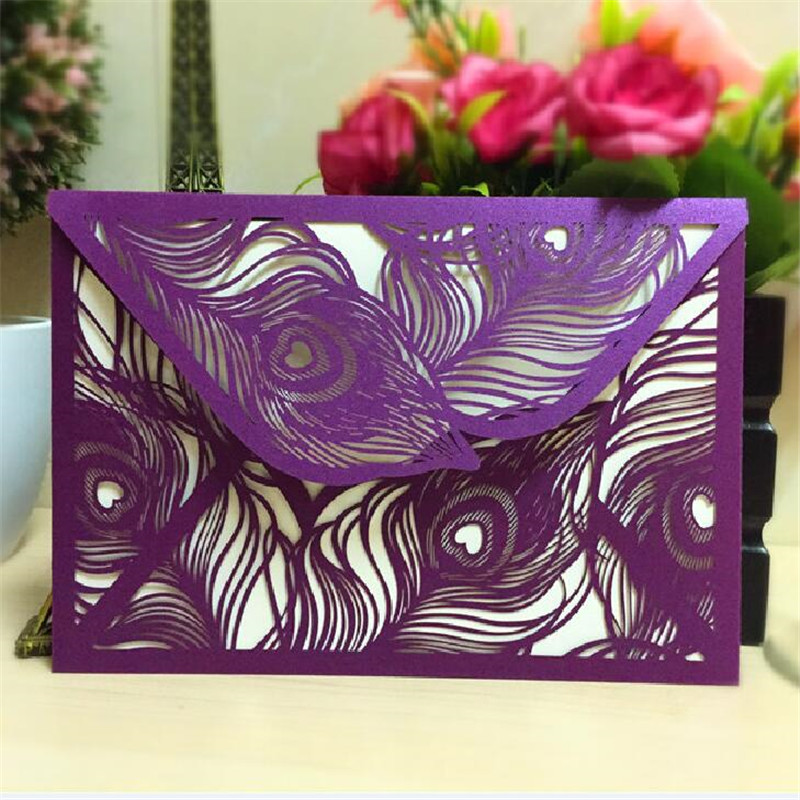 50Pcs Romantic Laser Cut Wedding Invitations Cards Peacock Feathers Girl  Birthday Greeting Cards RSVP Cards Christmas