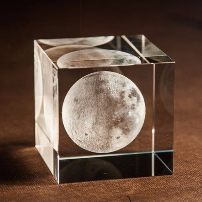 K9 Crystal Glass Cube 3D Laser Engraved Moon Paperweights Natural Stones Minerals Crafts