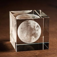 K9 Crystal Glass Cube 3D Laser Engraved Moon Paperweights Natural Stones Minerals Crafts terrarium Figurine Home Wedding Decor