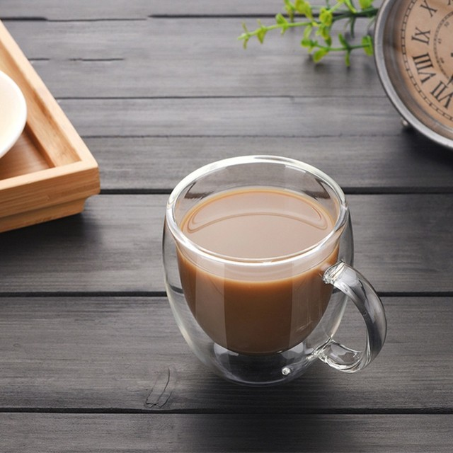 Double-layer Coffee Cup Heat Resistant with Handle Coffee Cup High Borosilicate Transparent Innovative Flower Receptacle Cup