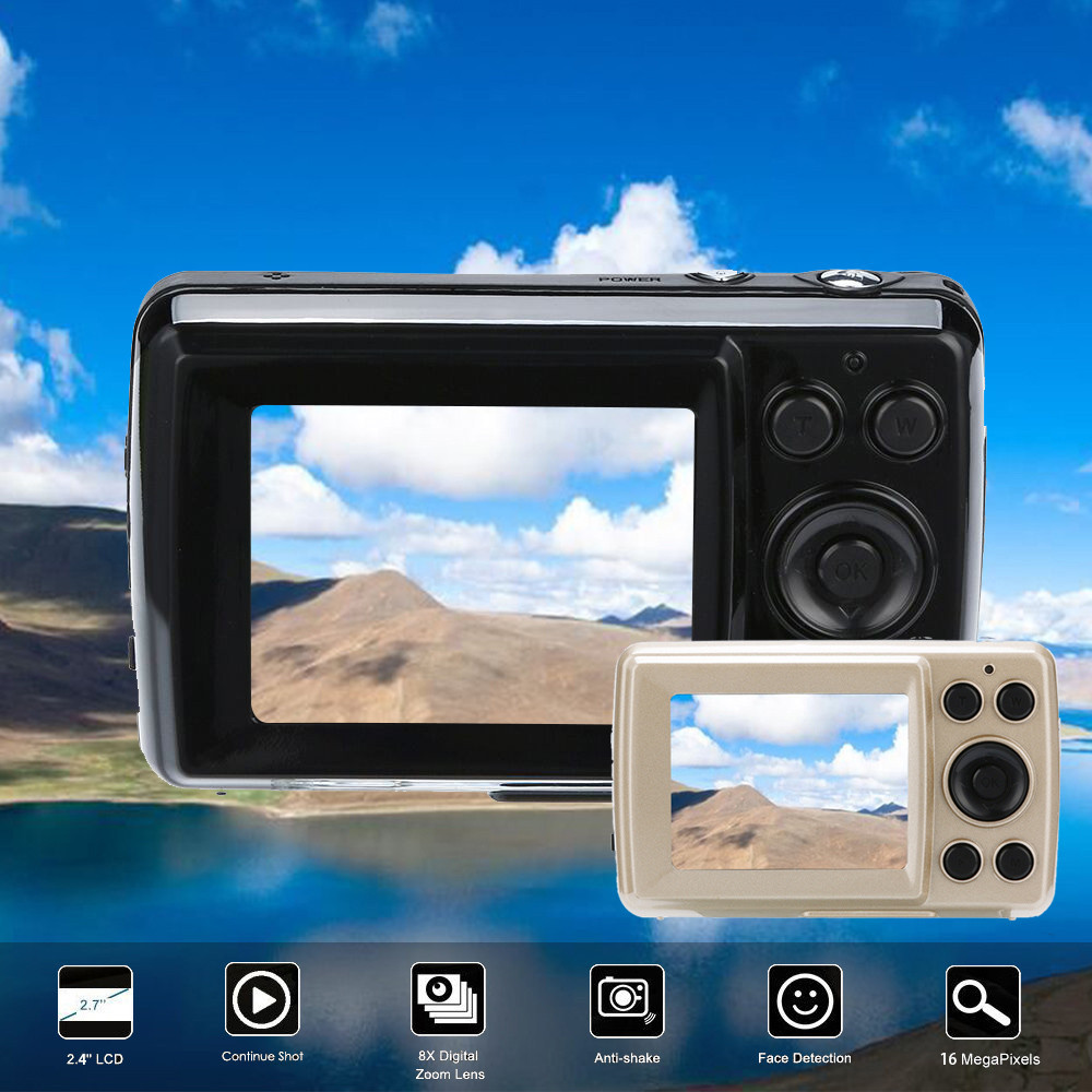 HIPERDEAL profesional DV Digital Mini cámara 2,4 pulgadas HD pantalla cámara Digital 16MP Anti-Shake Face Detection videocámara regalo