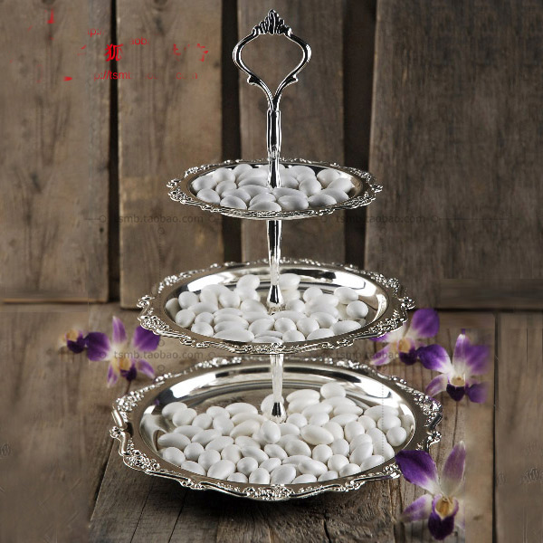 3 tier round alloy metal cake dessert tray snack rack stand fruit ...