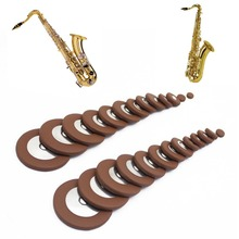 25pcs Alto Saxophone SAX Replacement Woodwind Brown Fuax Leather Pads NEW
