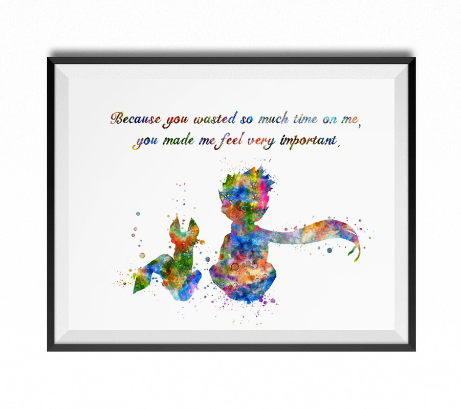 The Little Prince Fox Inspired Quote Watercolor Art Print Le Petit Prince Wall Decor Art Nursery Wall Hanging Home Decor  AP086