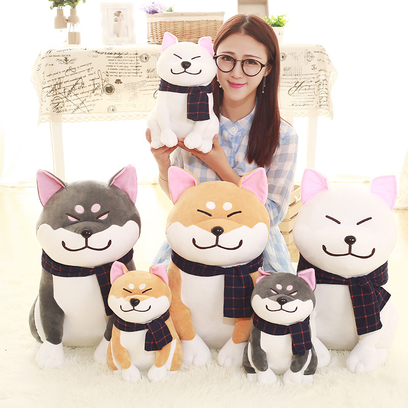 25cm Wear Scarf Shiba Inu Dog Plush Toy Soft Stuffed Dog Toy Good Valentines Gifts for Girlfriend Akita Dog Plush Doll Toy qwz1pcs 25cm cute wear scarf shiba inu dog plush toy soft animal stuffed toy smile akita dog doll for lovers kids birthday gift
