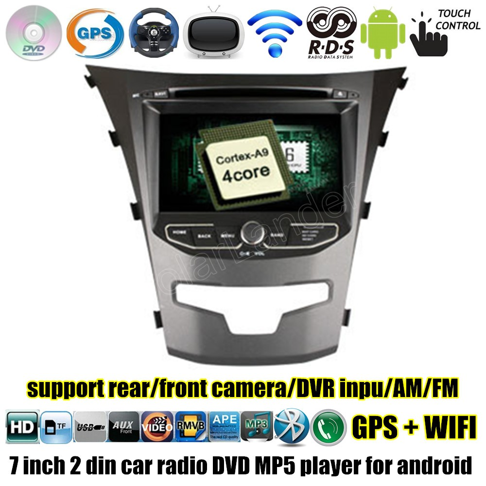 2 Din 7 inchCar DVD Player GPS Radio AM Bluetooth touch screen for Android 4.4 For Ssangyong Korando 2014 2015 wifi image