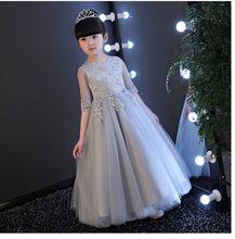 2017 nouveaux enfants de robe gris princesse robe fille petit hôte grand enfant piano performance robe longue d'été 3-14 T