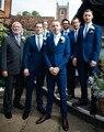 2017 Nuevos Hombres de la Moda Trajes (chaqueta + Pantalones) Padrinos de boda del novio Traje de Boda Set Slim Fit Hombre de Negocios vestido De Fiesta Formal Desgaste