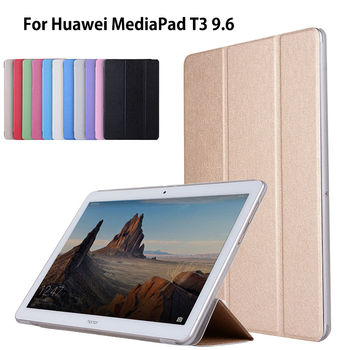 Case For Huawei MediaPad T3 10 AGS-L09 AGS-L03 9.6 inch Cover Funda Tablet PU Leather Flip Folding Folio Stand Shell digital clock