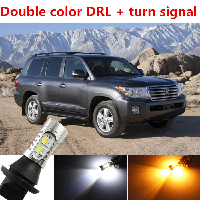 ФОТО For toyota Land Cruiser accessories LED DRL Daytime Running Light & Turn Signal Light Xenon White+Amber Free shipping