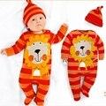 Spring 2015 Cartoon Baby Boys Clothes Set Jumpsuit + Cap Roupa De Bebe Menino Menina Baby Boy Clothing Set Toddler Boys Clothing
