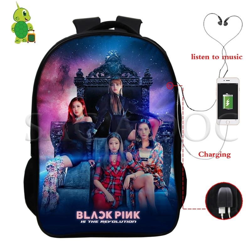 Kpop Blackpink Ladies Backpack USB Charge Mochila Kill This Love Rose/Lisa Bag Men's Multifunction School Backpacks Travel Bags