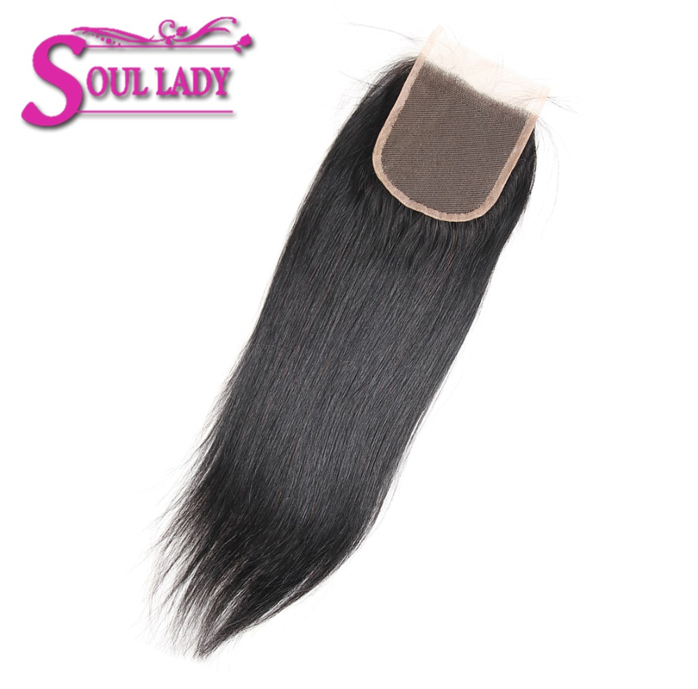 Soul Lady Hair Products Brazilian Straight Lace Closure Natural Color 8-20 Inch 4x4 Swiss Lace Non-remy Hair Free Shipping