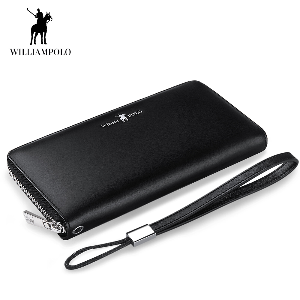 WilliamPOLO Wallet Men Women Long Clutch Credit Card Holder Genuine Leather Phone Purse Accordion Multi Card Case Zipper Bag New 2018 new pattern genuine real leather men male long wallet and purse mobile phone bag crazy horse credit card case holder