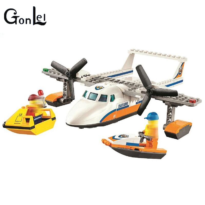 (GonLeI) City Coast Guard Sea Rescue Plane building blocks DIY Educational bricks toy gift for children Compatible with 60164 decool 3114 city creator 3in1 vehicle transporter building block 264pcs diy educational toys for children compatible legoe