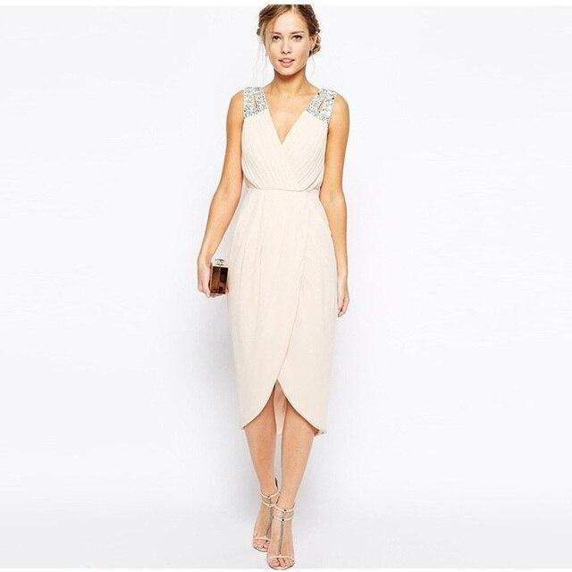 7599034b8 2015 De Moda Con Pliegues de Novia de Gasa de dama de Honor Vestidos Con  Cristales