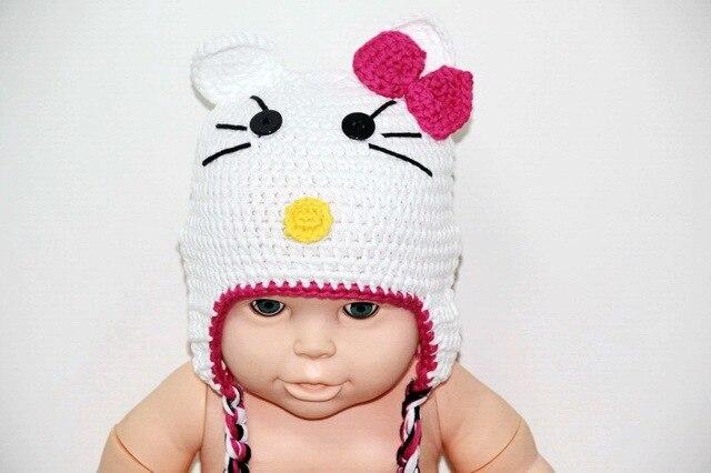 Livraison gratuite, 100% coton Crochet blanc chat chapeau. bébé Crochet  chapeau. fille c749212cb47