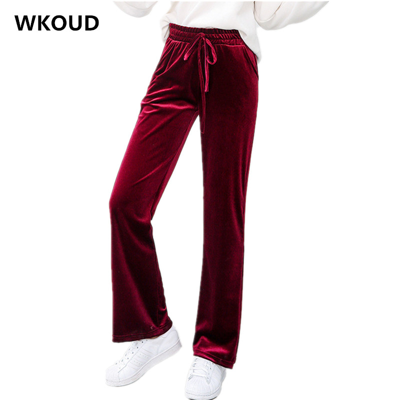 WKOUD Women's   Wide     Leg     Pants   Pleuche Solid Drawstring Waist Loose Trousers Female Casual Fall   Pants     Wide     Leg   Trousers P8413