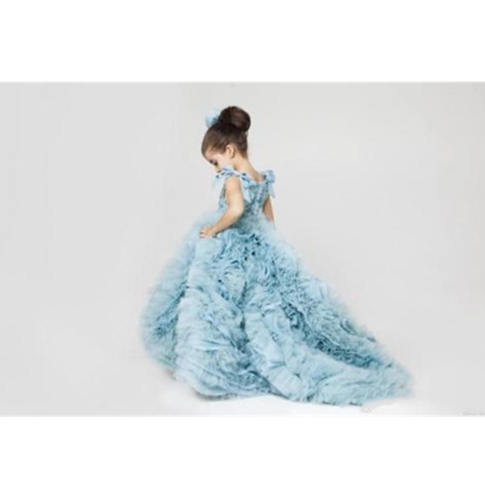 Pretty Flower Girls Dresses Ruched Tiered Ice Blue Puffy Girl Dresses for Party pretty girls