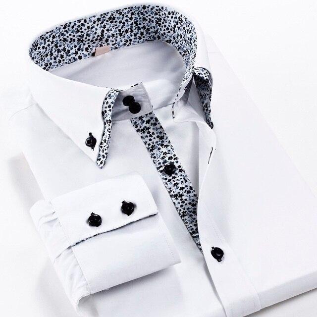 Мужчины Двойной Воротник Рубашки Печати S-3XL Кнопка Slim Fit Рубашка с длинным Рукавом Хлопчатобумажную Рубашку для Мужчин Сплошной Цвет Белый/Черный рубашка