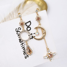 Asymmetric Rhinestone Cross Cute Moon Round Circle Clip Earrings for Girls Women Korean Style Statement Jewelry Brincos EC748