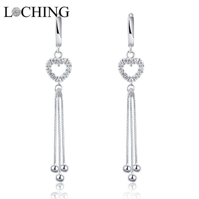 Loching Hollow Heart Earrings Tels Luxurious Long Dangle Chic Personality Prom Evening Dress