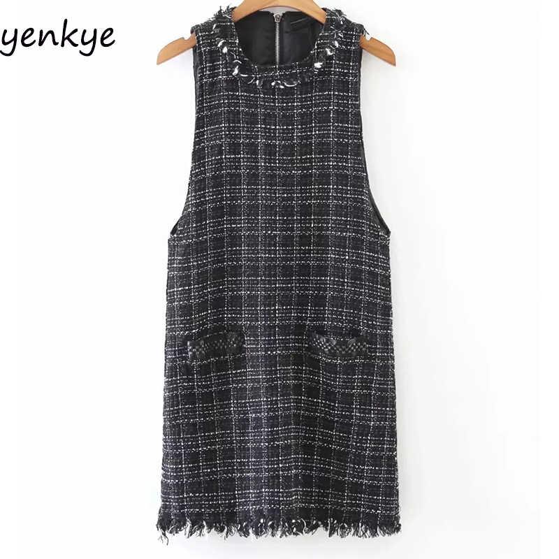 d3de7511c4 Detail Feedback Questions about PERHAPS U Tweed Dress Elegant Side ...