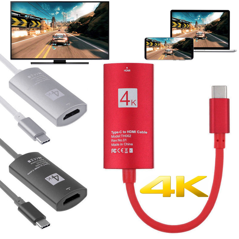 4K Type C To TV HDMI Video Adapter Cable HDTV Converter For Samsung Galaxy S10+ S9 S8 Plus Note 8 9 For Macbook PC To Projector