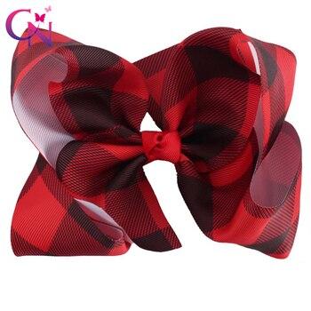 "6 ""Buffalo Plaid Lint Haar Bows Met Clips Voor Kids Meisjes Prinses Handgemaakte Gedrukt Knoop Xmas Bows Haarspelden Haar accessoires"