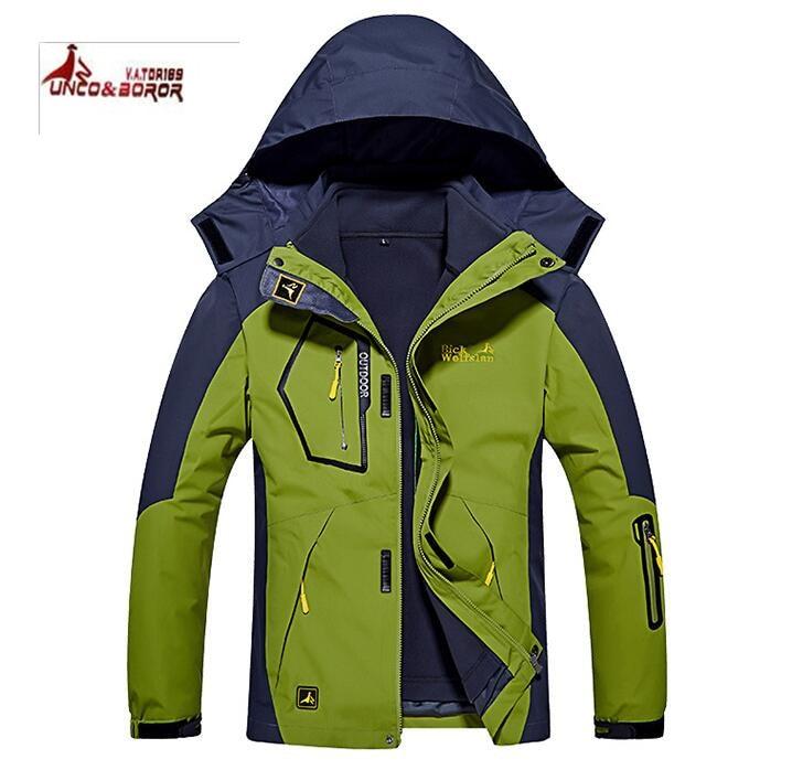 UNCO BOROR Men Outdoor Sport Waterproof Windproof Jackets Men thicken 2 in 1 Autumn winter Hiking Camping Trekking Skiing Coats цены онлайн