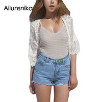 Ailunsnika 2017 Summer Women Fashion Loose Top Beach Style Off White Sheer Rose Lace Beach Cardigan
