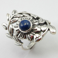 Pure Silver Lapis Lazuli LEAF Ring Size 5.75 Gems Jewelry Unique Designed